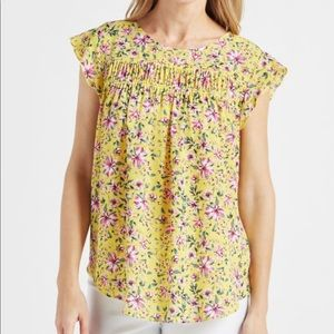NWOT Zac & Rachel Floral Ruched Trim Top